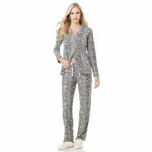Joan Boyce Fleece Leopard Print Pajama Set NEW